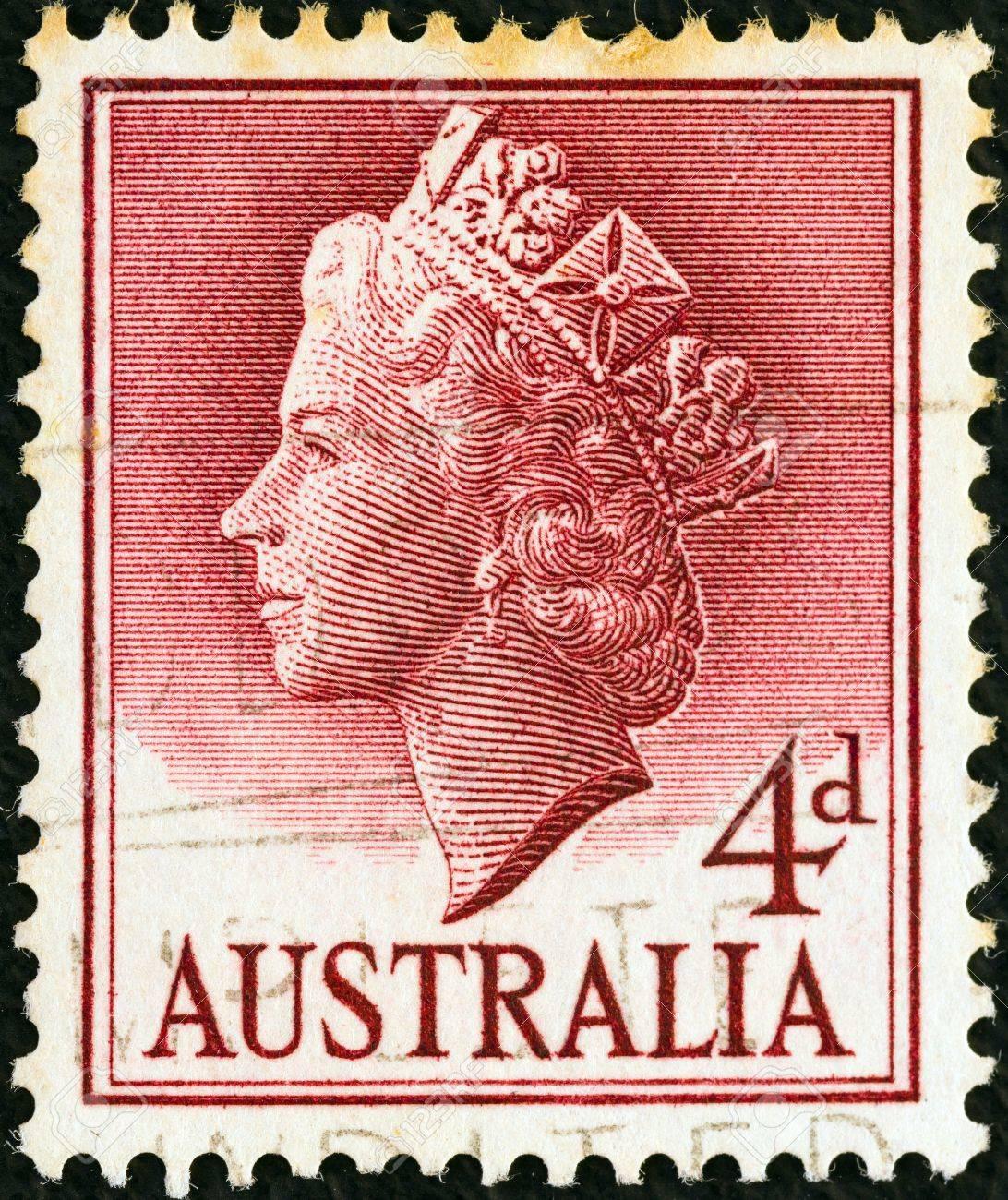 AUSTRALIA - CIRCA 1955: A stamp printed in Australia shows Queen Elizabeth II, circa 1955.  Stock Photo - 17298595