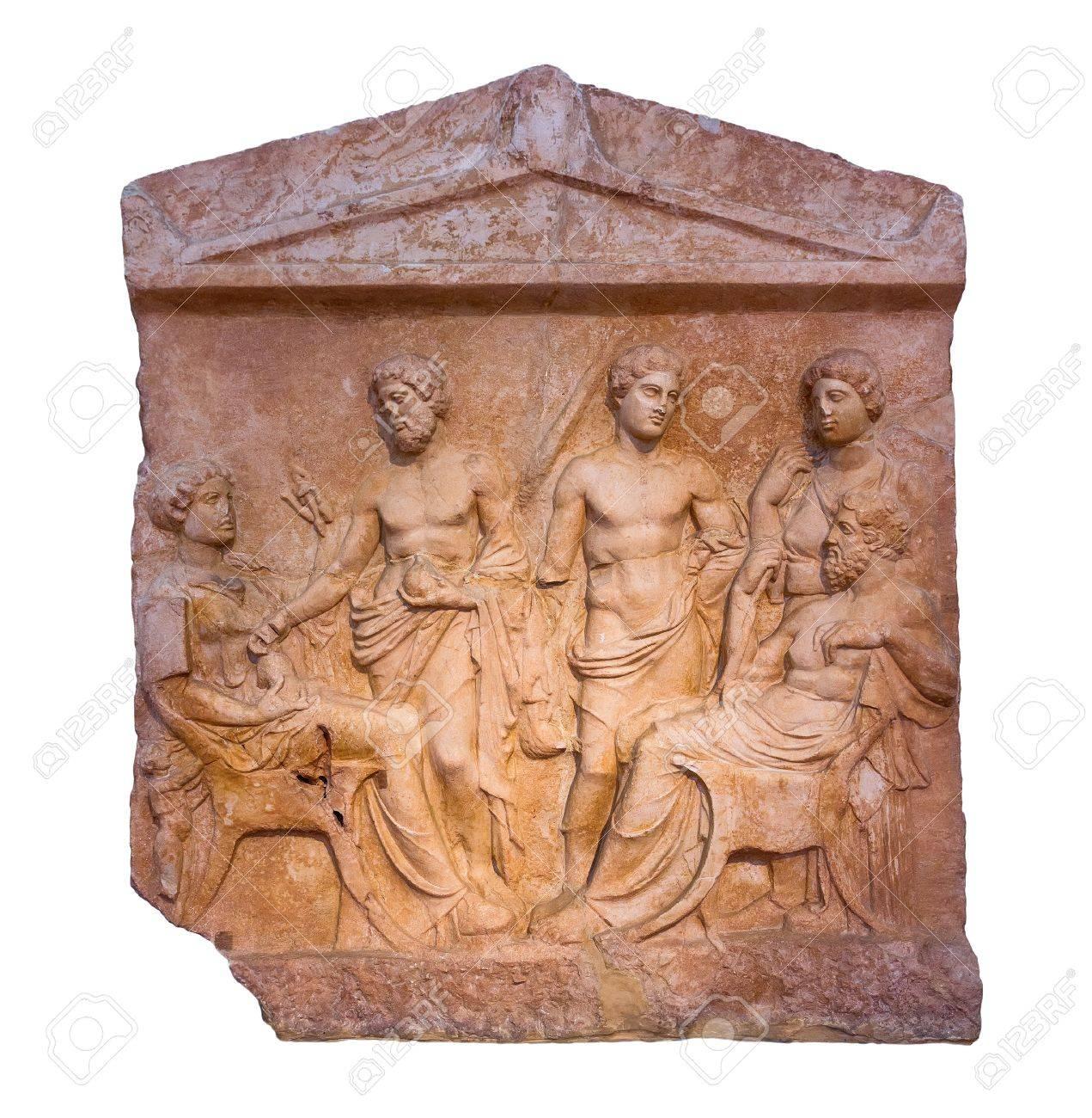 大理石の分離されたギリシャの墓...