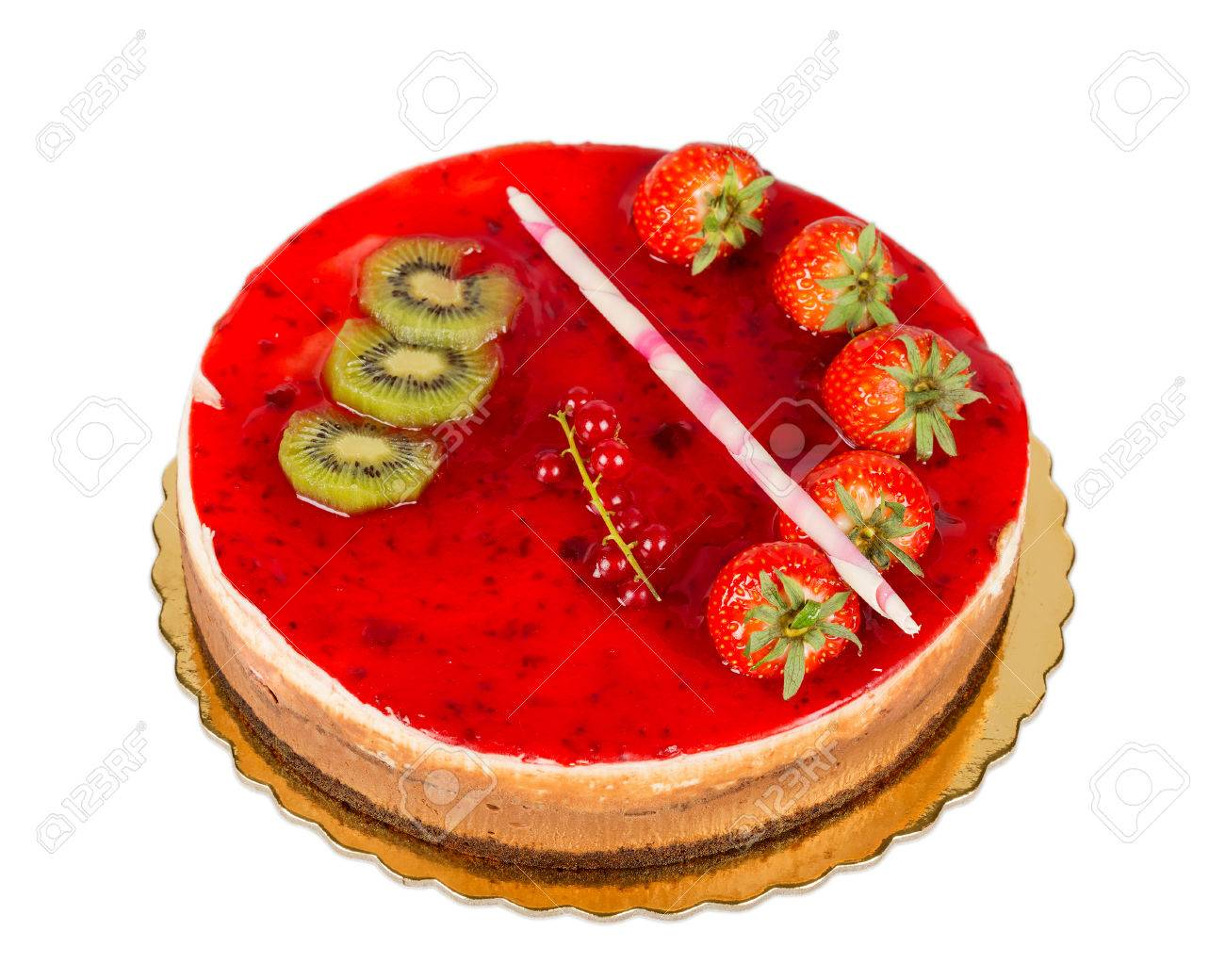 Strawberry Cake With Jelly Topping And Figs Isolated Stock Photo 23290702
