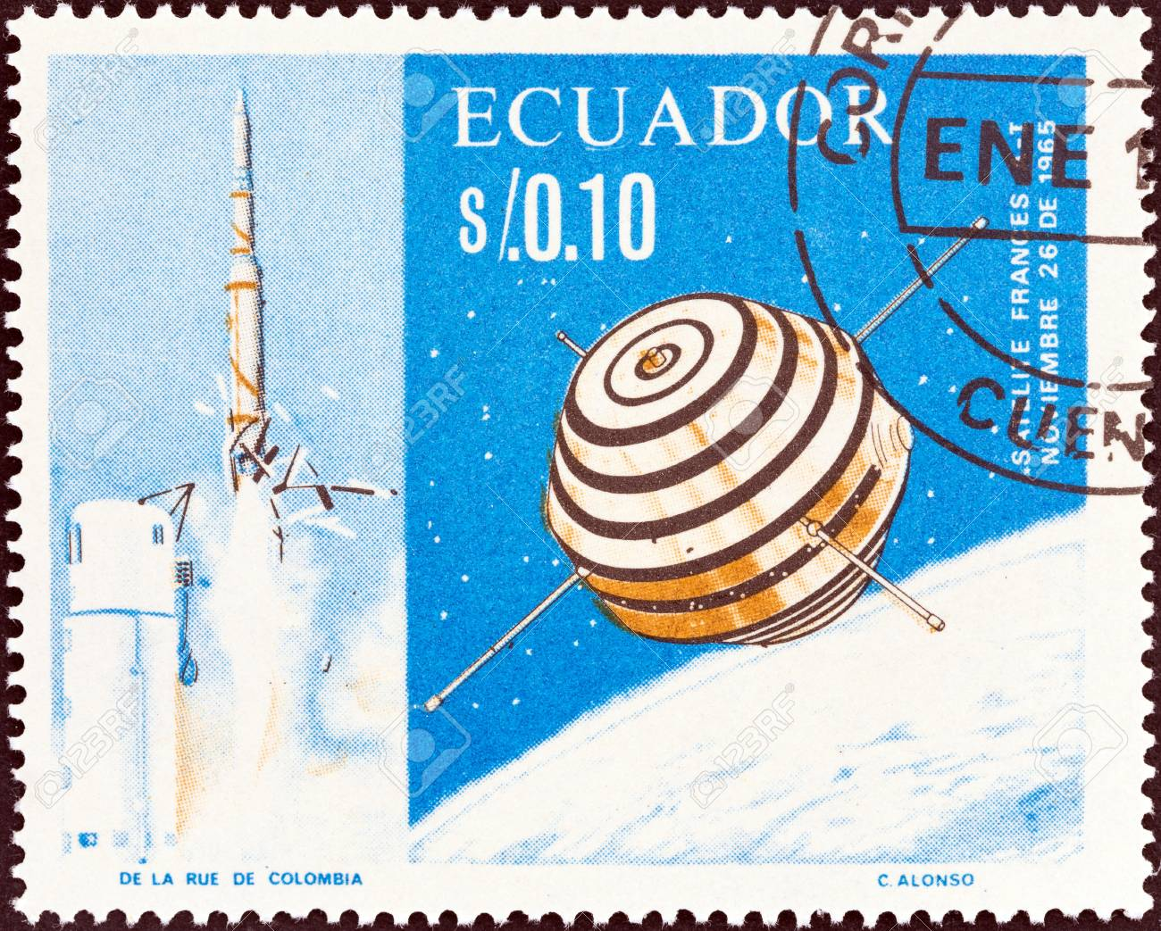 ECUADOR - CIRCA 1966: A stamp printed in Ecuador shows the first French satellite A-1 (Asterix), circa 1966. - 35729150