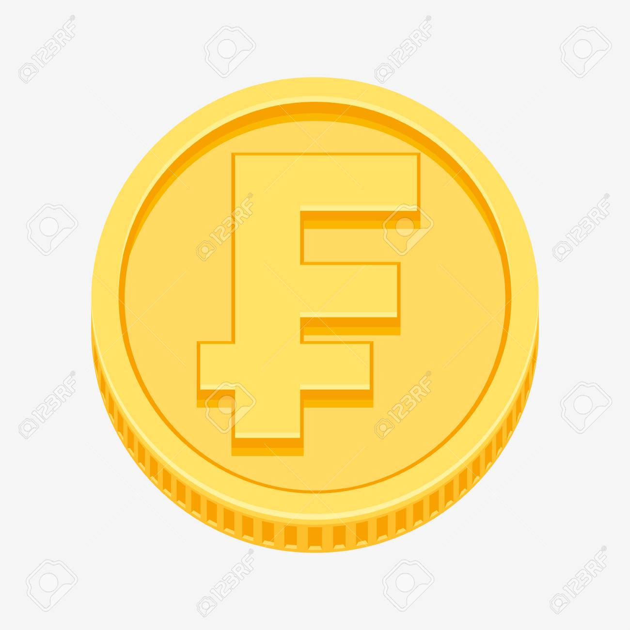 Franc Currency Symbol On Gold Coin Royalty Free Cliparts Vectors
