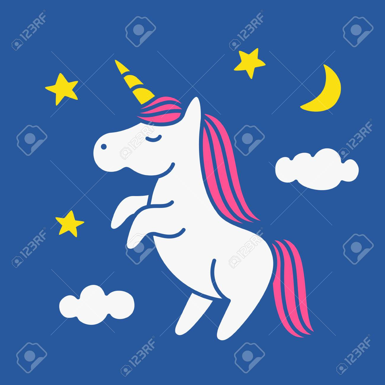 cute magic unicorn on night sky with clouds moon and stars cartoon rh 123rf com night sky stars vector night sky vector wallpaper