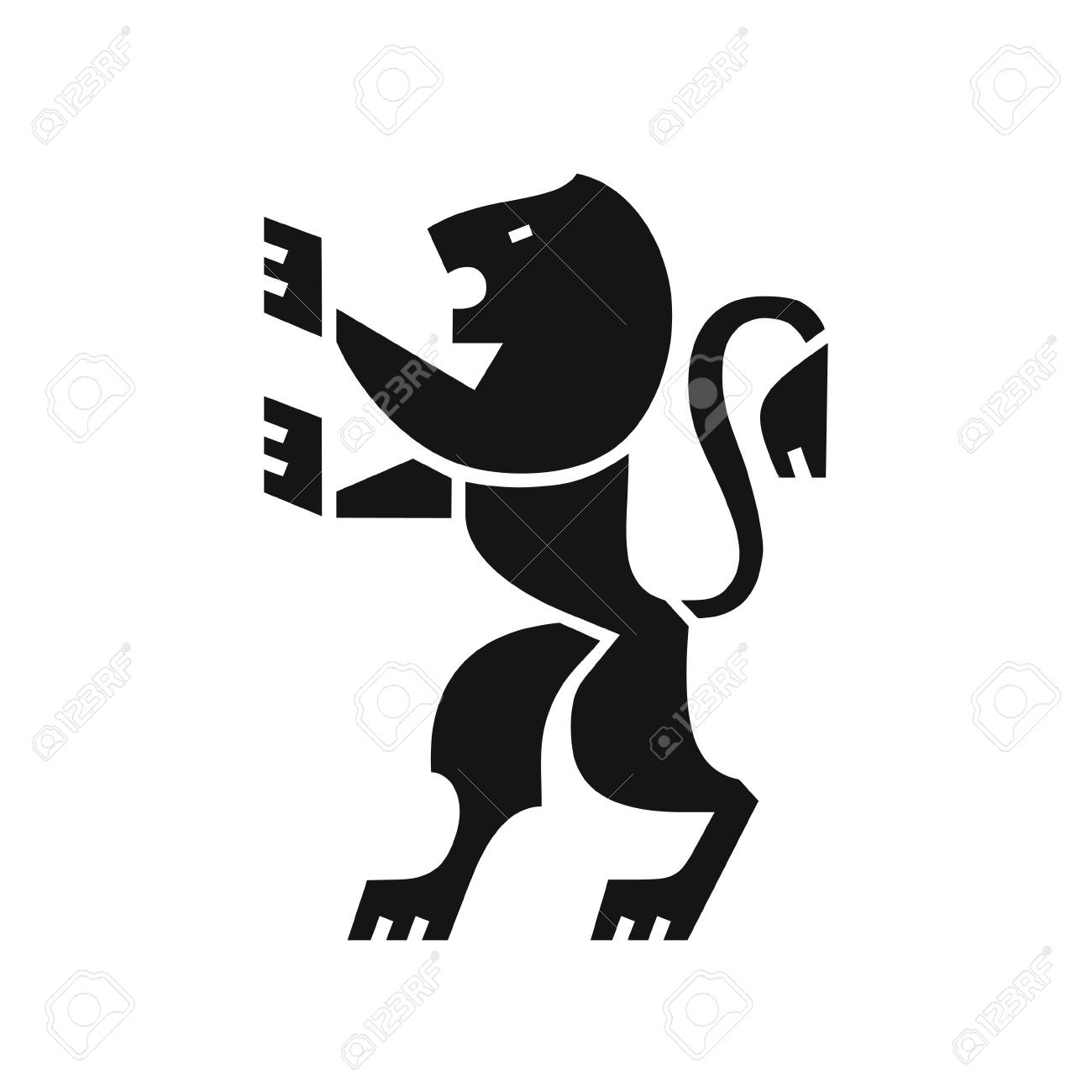 Heraldic Lion Icon Coat Of Arms In Modern Flat Style Symbol