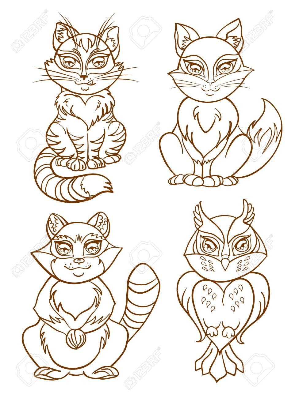 Animal Mignon Mis La Conception De Style De Dessin Animé Imprimer