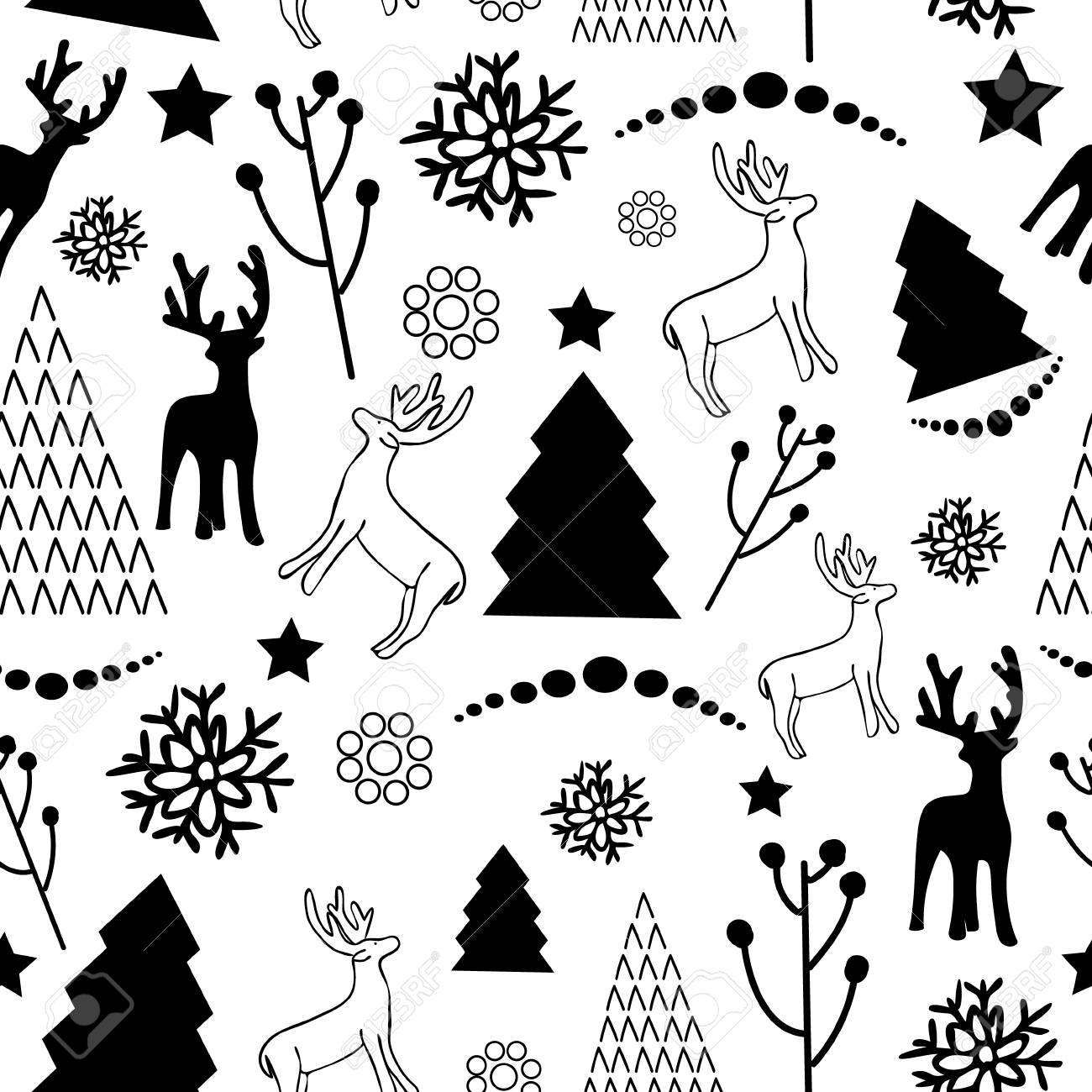 Christmas Pattern Black And White