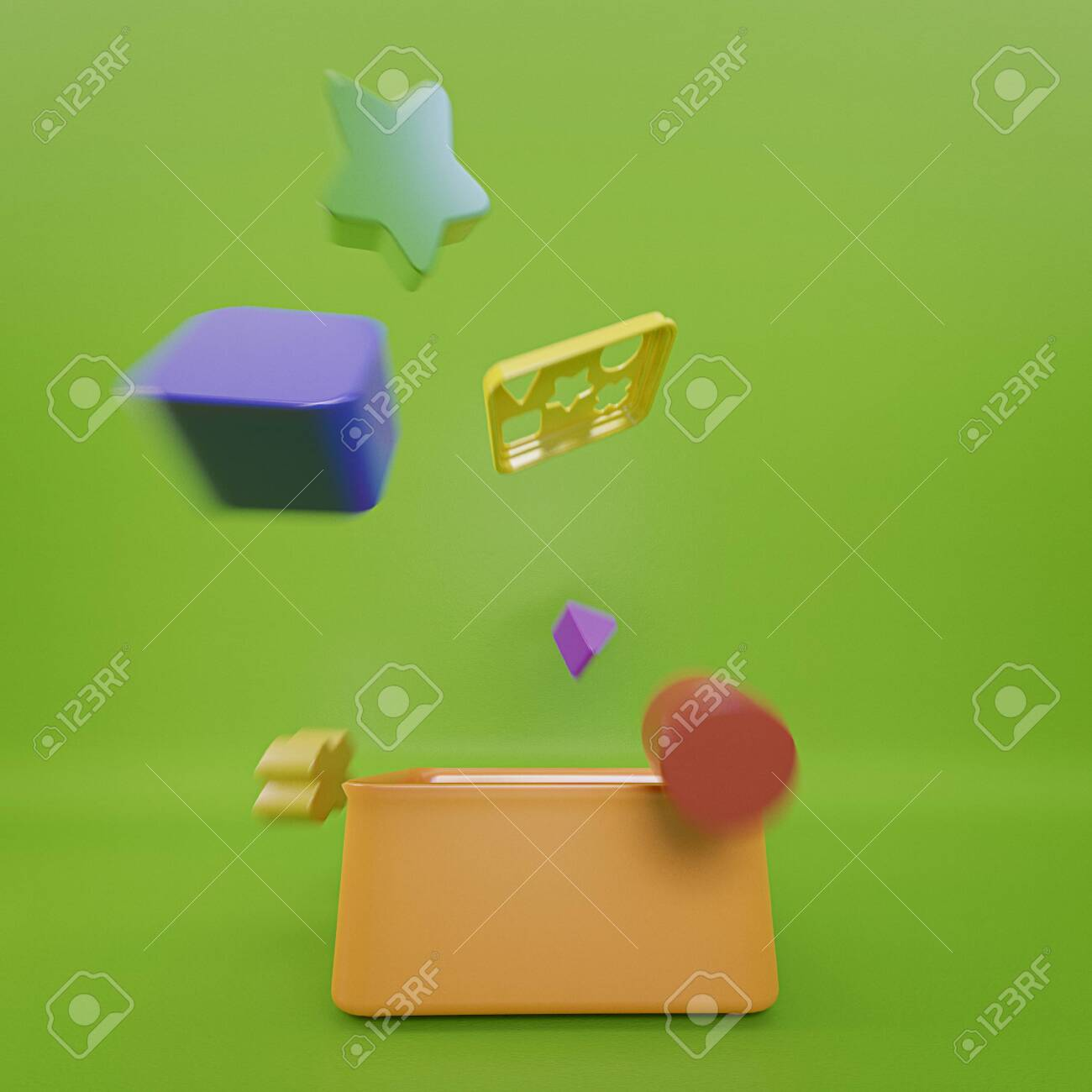 Colorful Geometry Toy Blocks Getting Out Of A Toy Box Children Stock Photo Picture And Royalty Free Image Image 146847429