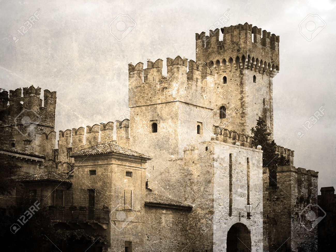 Old castle Scaligers. Vintage picture Stock Photo - 10672436
