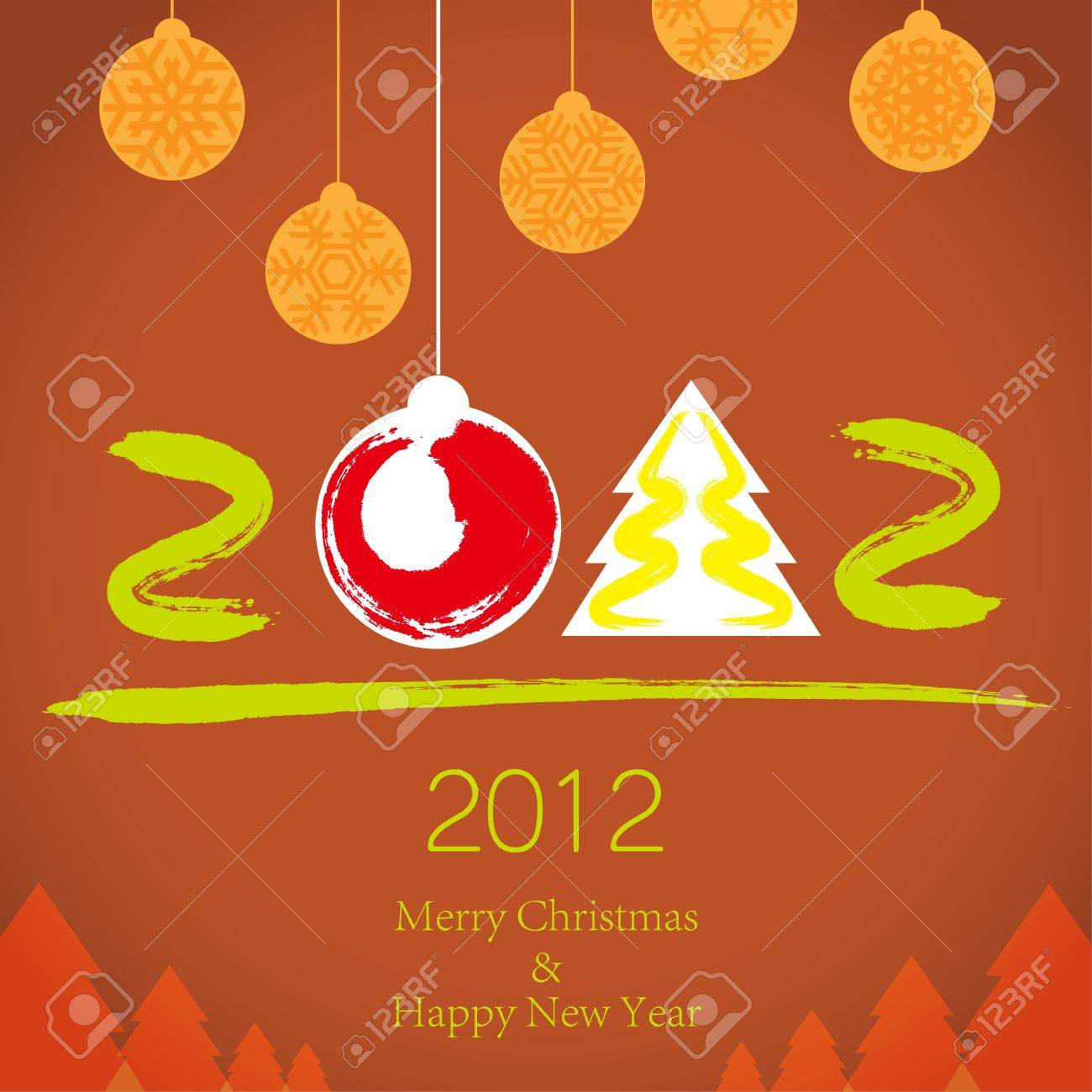 2011 Merry Christmas and 2012 Happy New Year background Stock Vector - 10995738