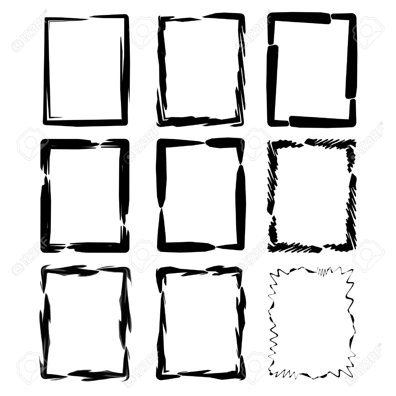 vector grunge ink brush square border sets royalty free cliparts rh 123rf com free vector borders western free vector borders and frames