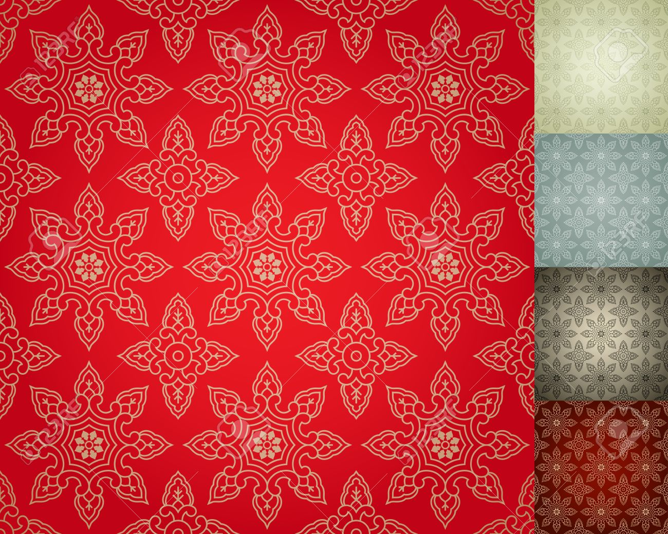 Chinese Seamless Damask Wallpaper Background Stock Vector