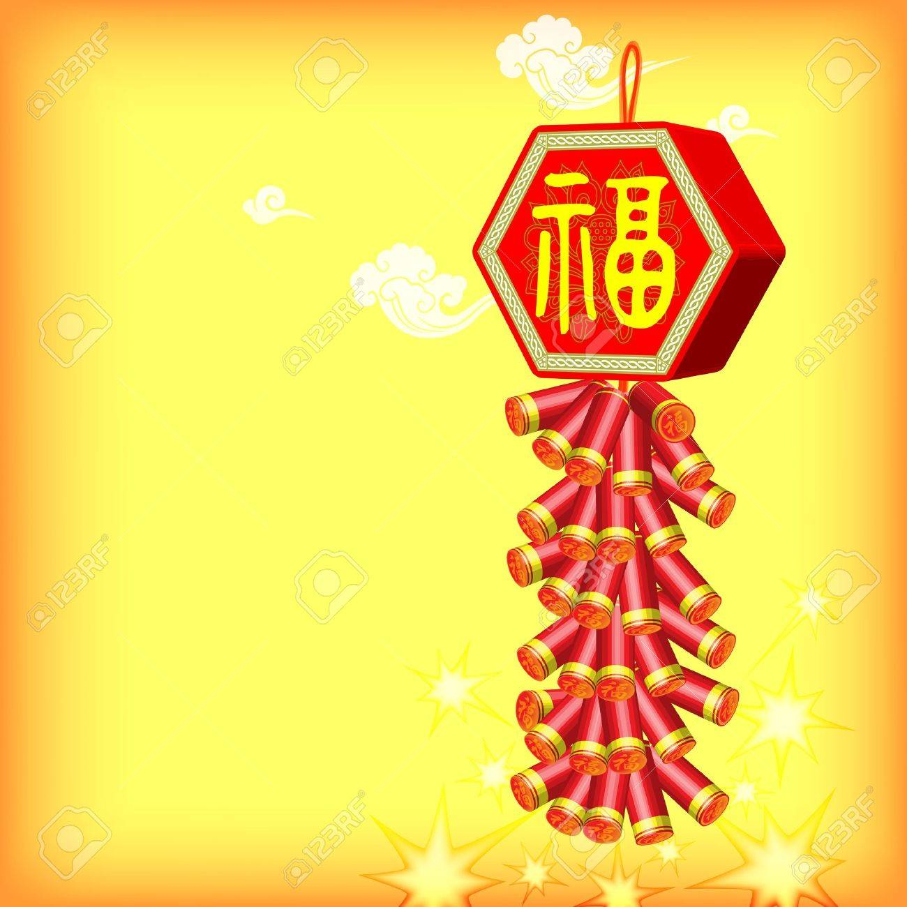 vector vector yellow background with fire cracker happy new year and chinese festivals chinese new year fu decorative elements