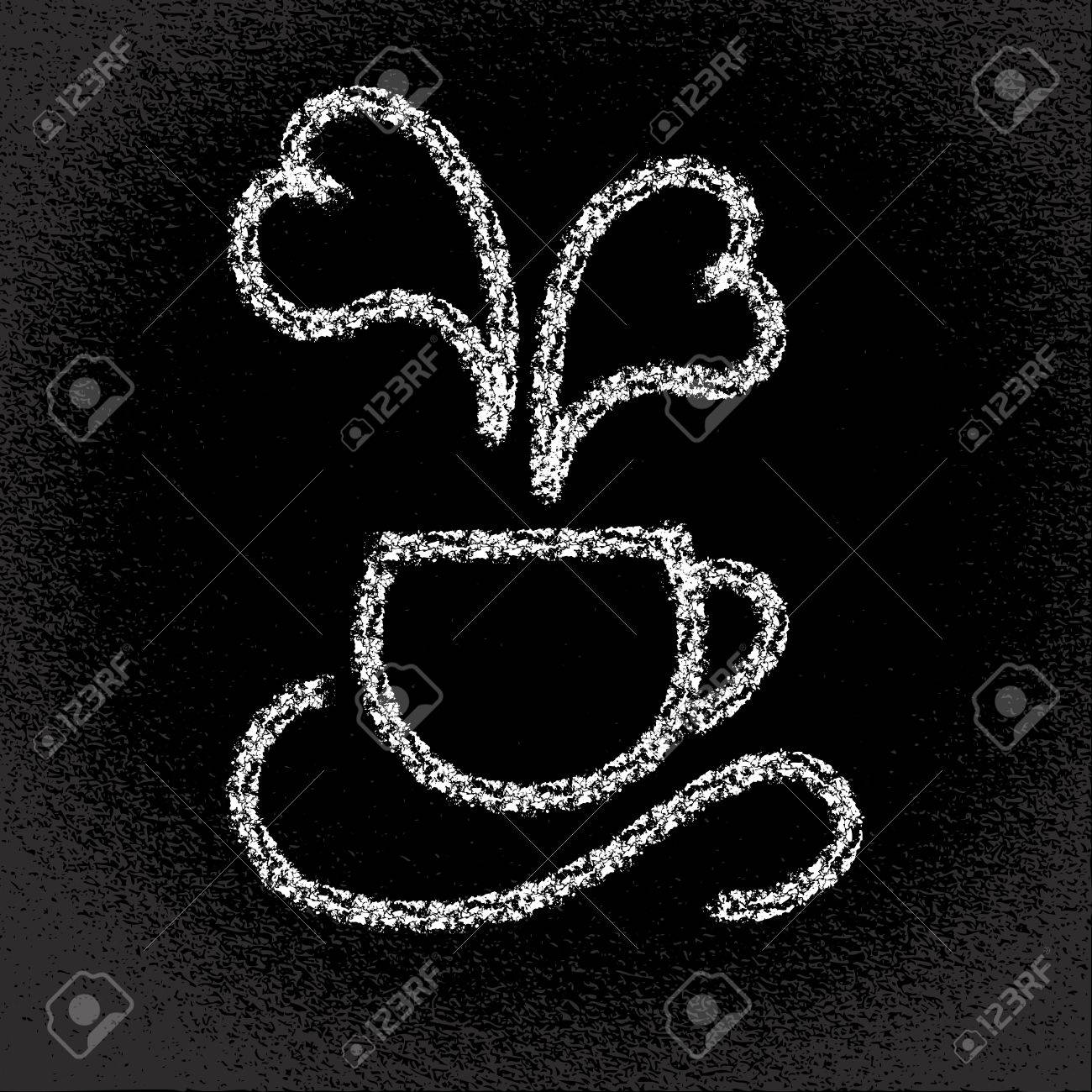 Cup of hot coffee  Heart-shaped steaming On the blackboard Vector eps10 illustration Stock Vector - 18752891