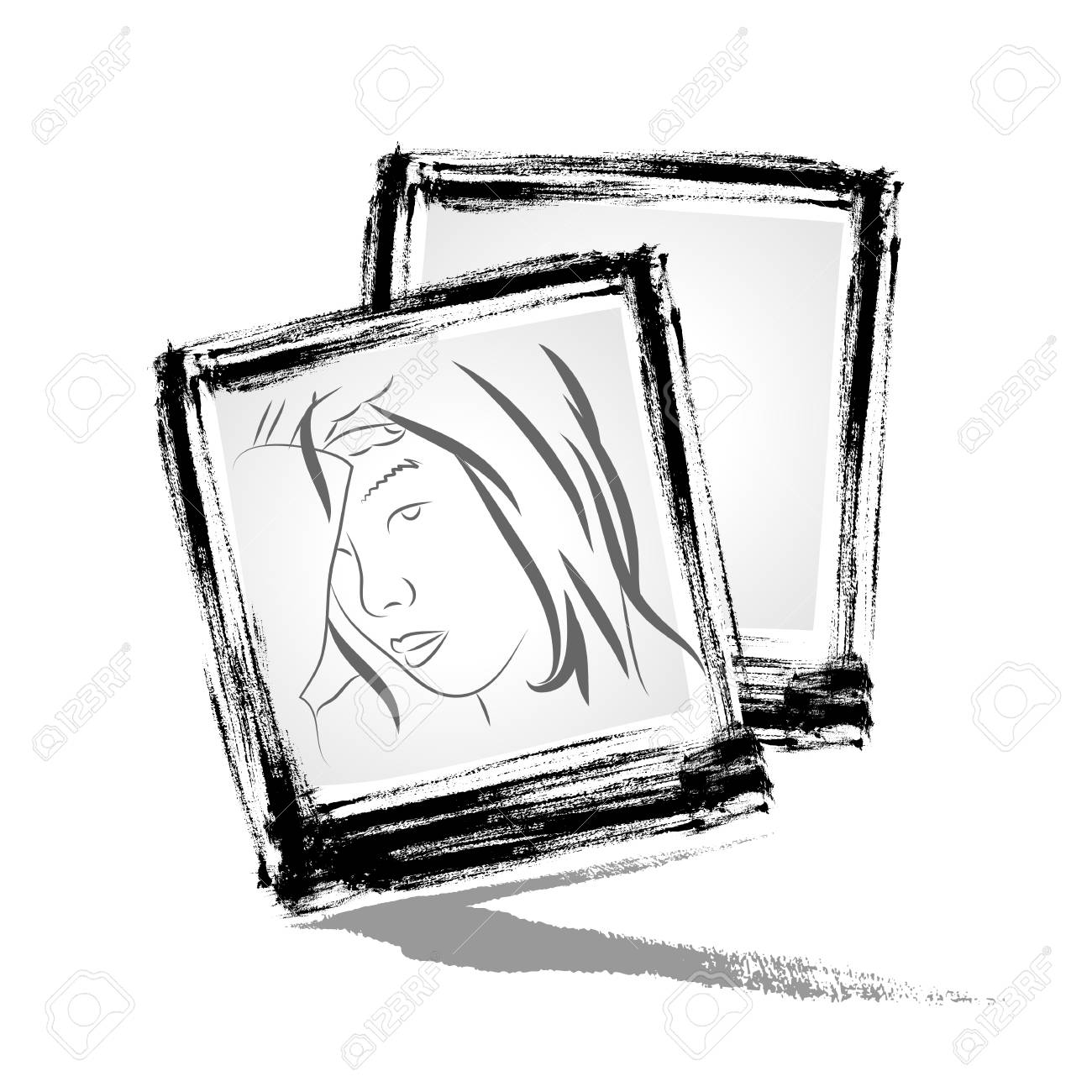 Vector   Photo frame with brushwork style Stock Vector - 18752889