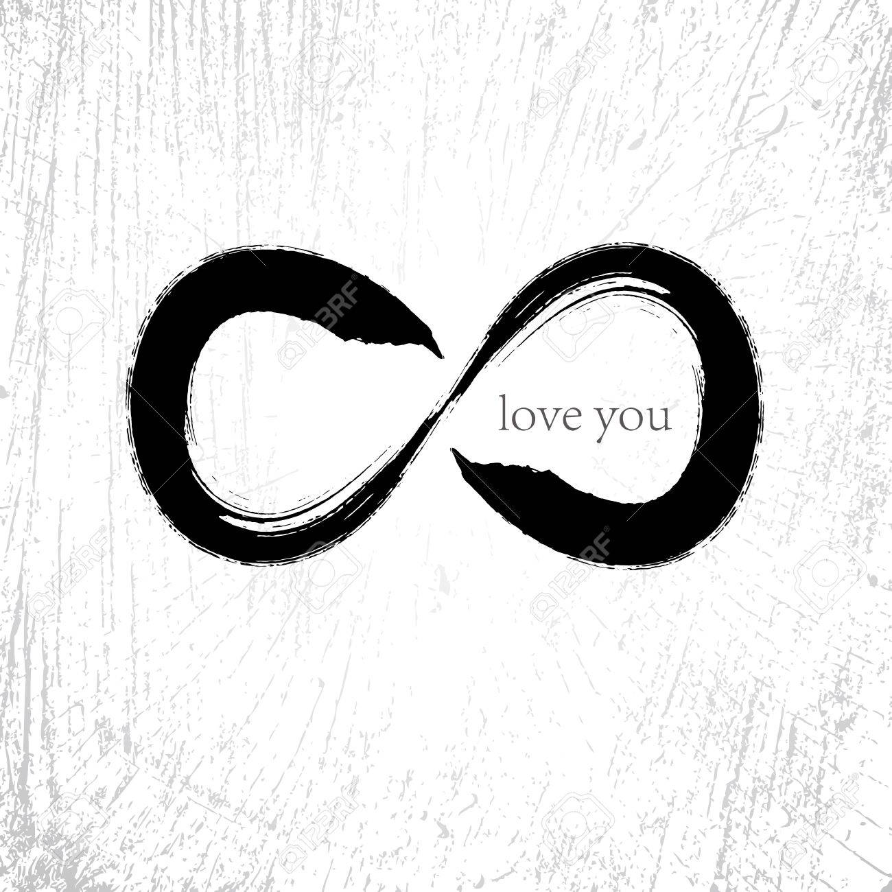 Vector  Infinity love symbol with grunge brushwork style Stock Vector - 18752887