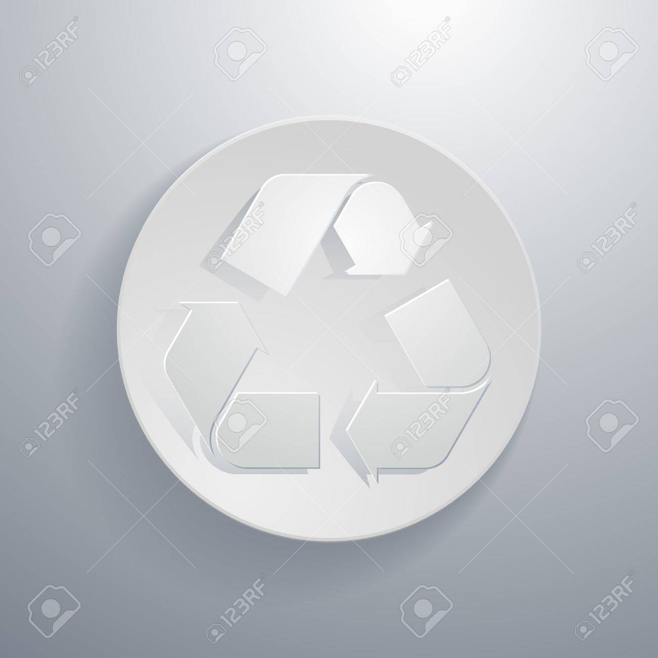 simple paper-cut style, circular icon,recycle sign Stock Vector - 21080492
