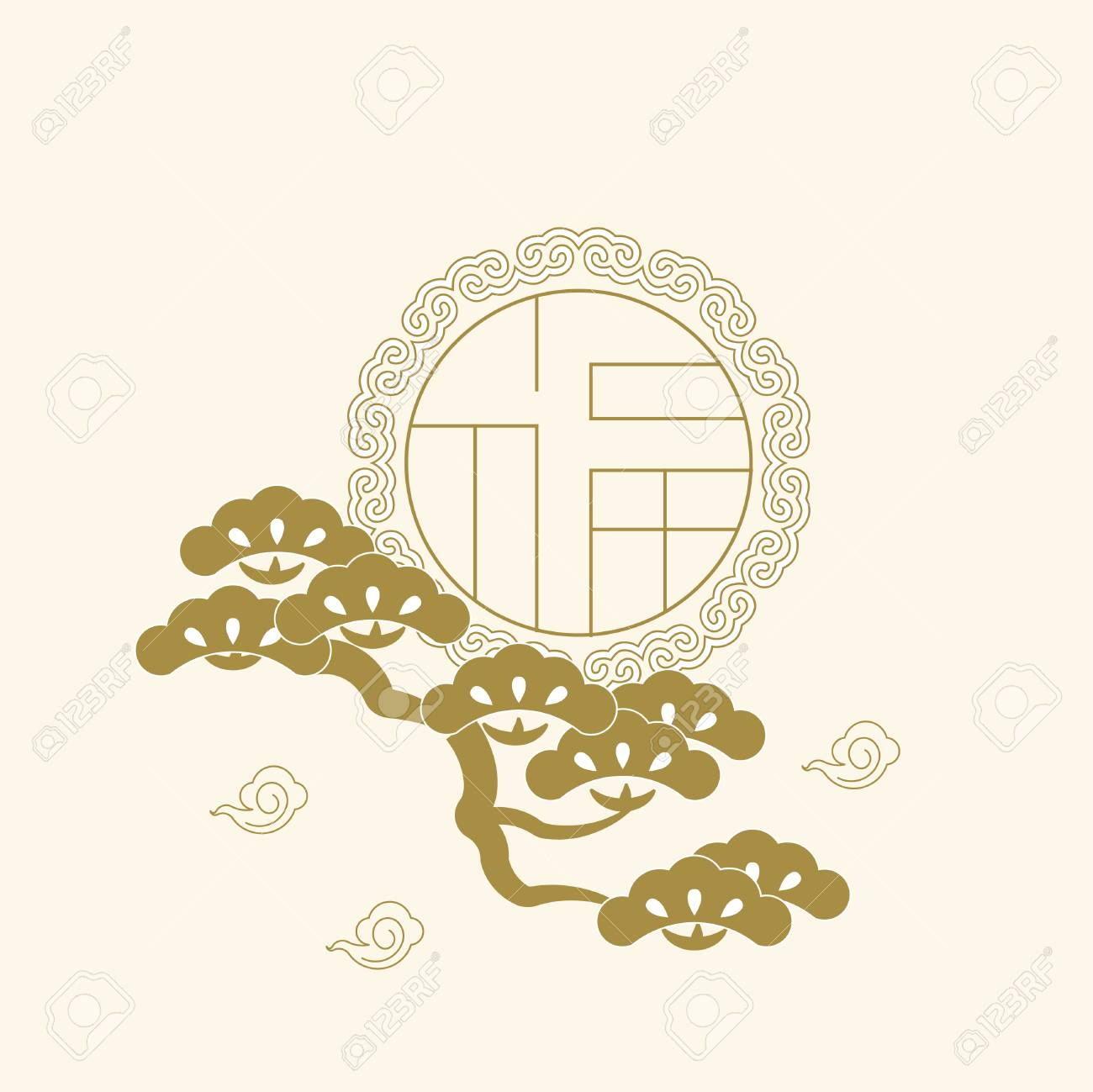 """New Year monochrome greeting card with asian traditional style, Chinese character """"blessed """" - 94577467"""