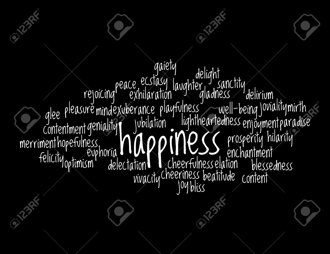 Collage of various synonyms for happiness stock photo 5120780