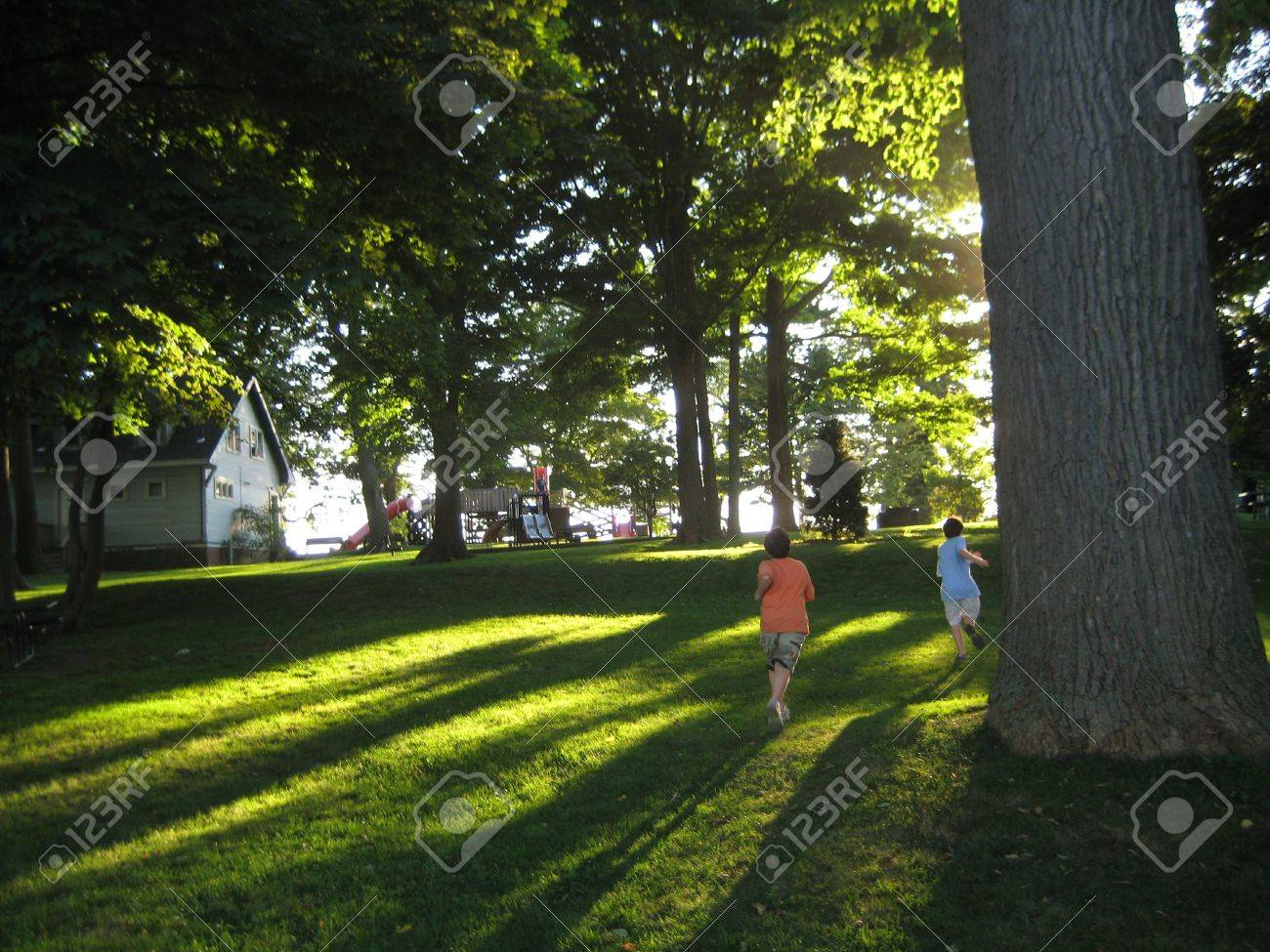 Two Brothers Running By A Tree In A Park Stock Photo Picture And Royalty Free Image Image 6371300