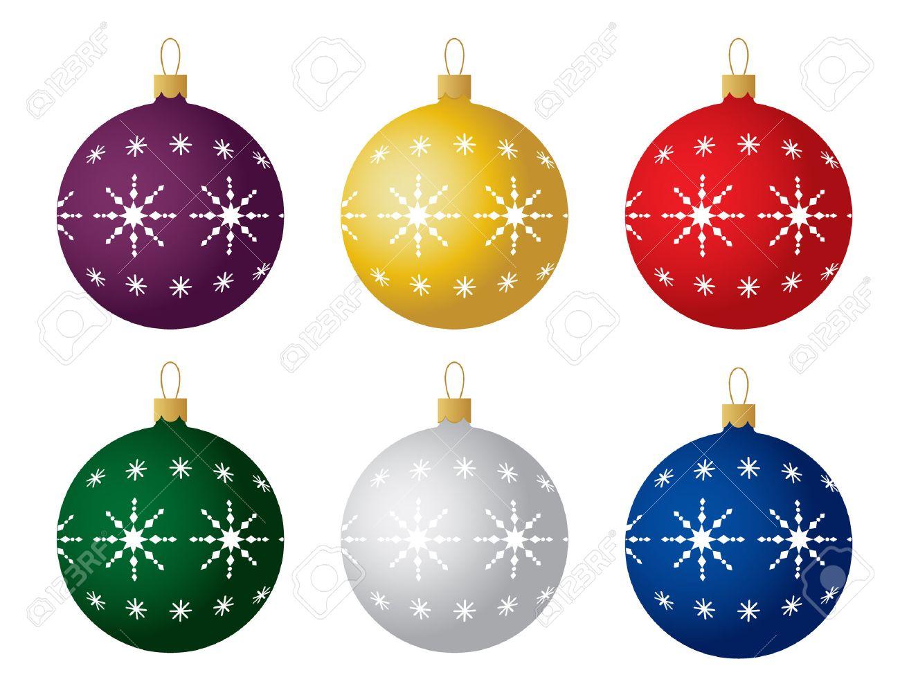 Christmas Ornaments Vector.Set Of Six Christmas Ornaments Vector