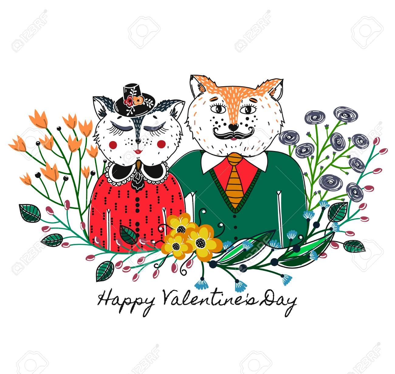Enamoured cats greeting background on valentines day feast greeting background on valentines day feast of love holiday floral kristyandbryce Choice Image