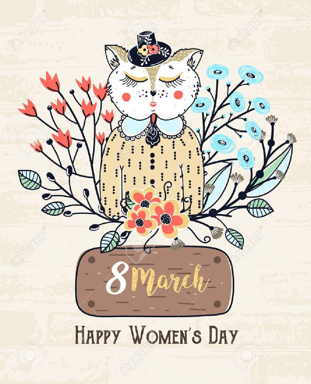 8 月幸せな女性の日カラフルなかわいい猫の背景を花の挨拶します