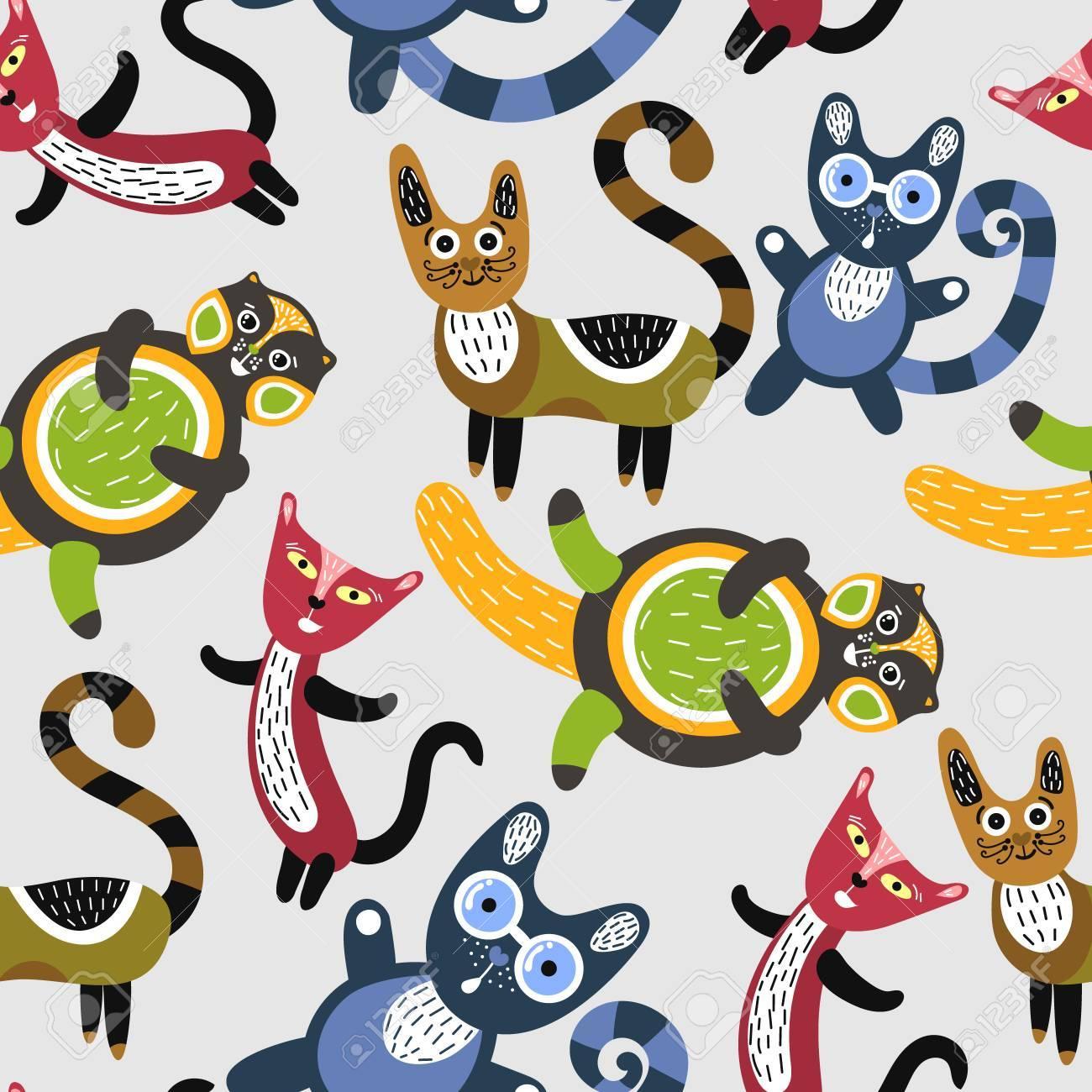 面白い猫とのシームレスなパターン かわいい子猫との芸術の背景