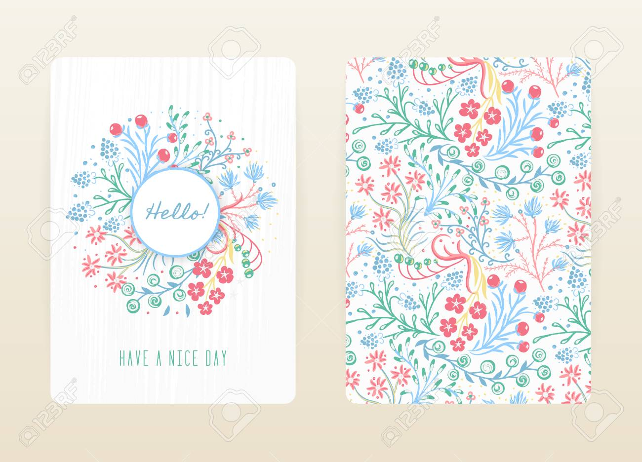 Cover design with floral pattern hand drawn creative flowers cover design with floral pattern hand drawn creative flowers colorful artistic background with blossom stopboris Gallery