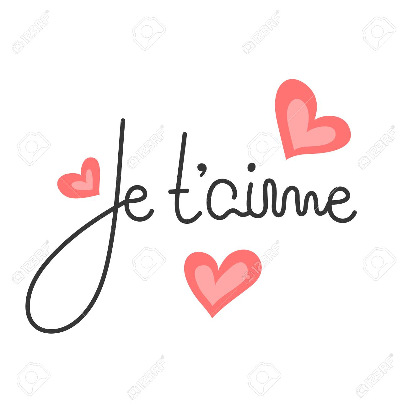 Je Taime French Lettering Handwritten Romantic Quote Happy