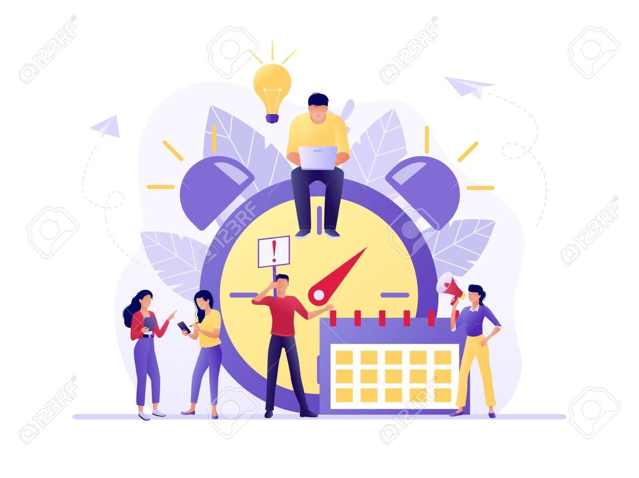 Time management, Deadline with small people around the large watch and calendar. Concept of term and time, planning. Vector flat illustration. Flat concept vector illustration for web, landing page - 123180615