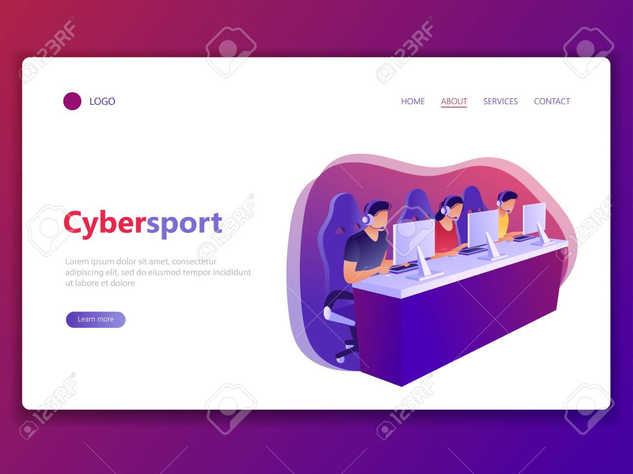 Landing web page template of Cybersport. E-sport, competitive, computer gaming, gamers. Men and woman playing game, looking at screen and sitting in chairs. Flat concept vector illustration. - 121001074