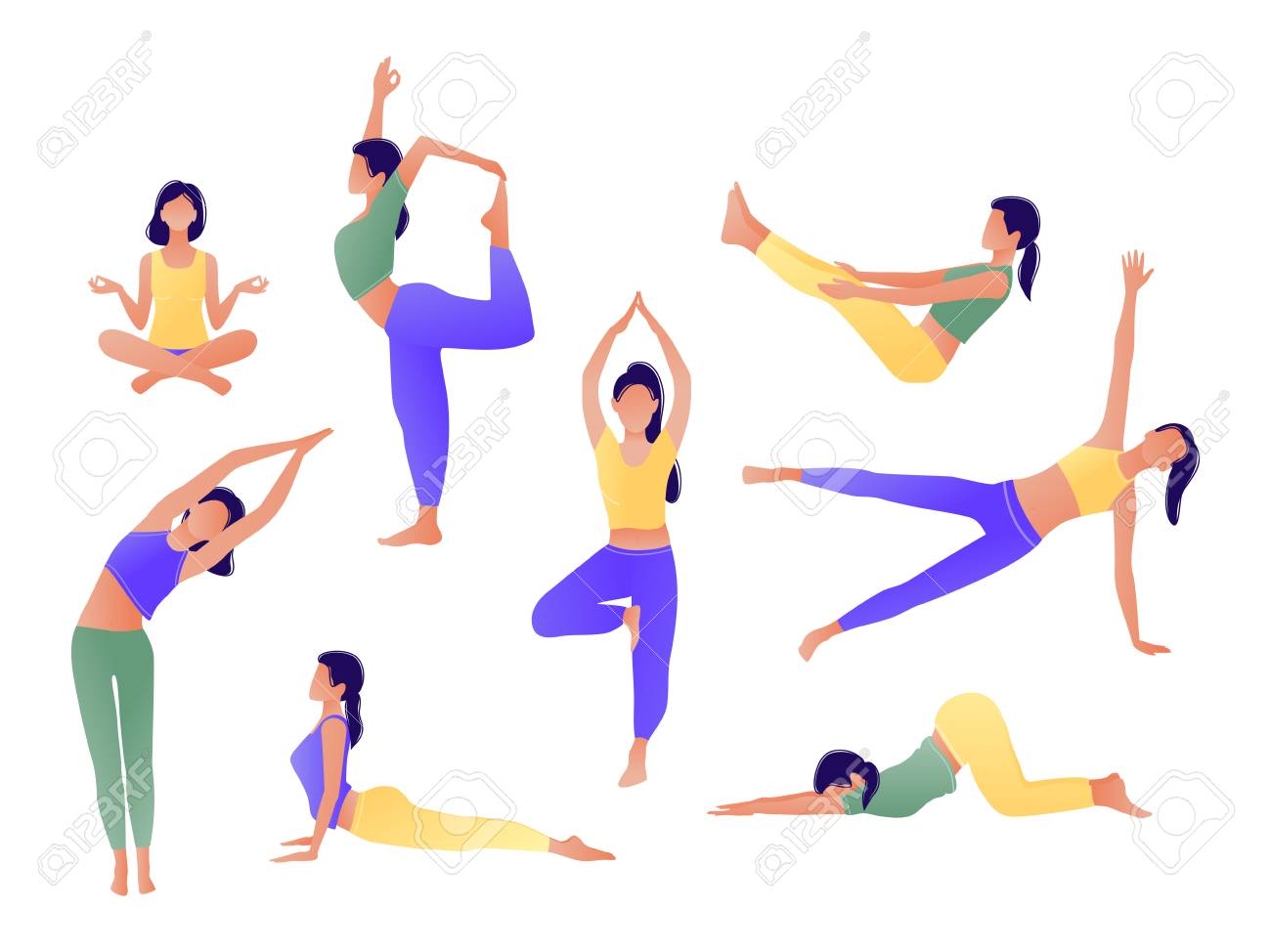 Yoga workout girl set. Women doing yoga exercises. Can be used for poster, banner, flyer, card, website. Warming up, stretching. Vector illustration. Green yellow violet - 117872202