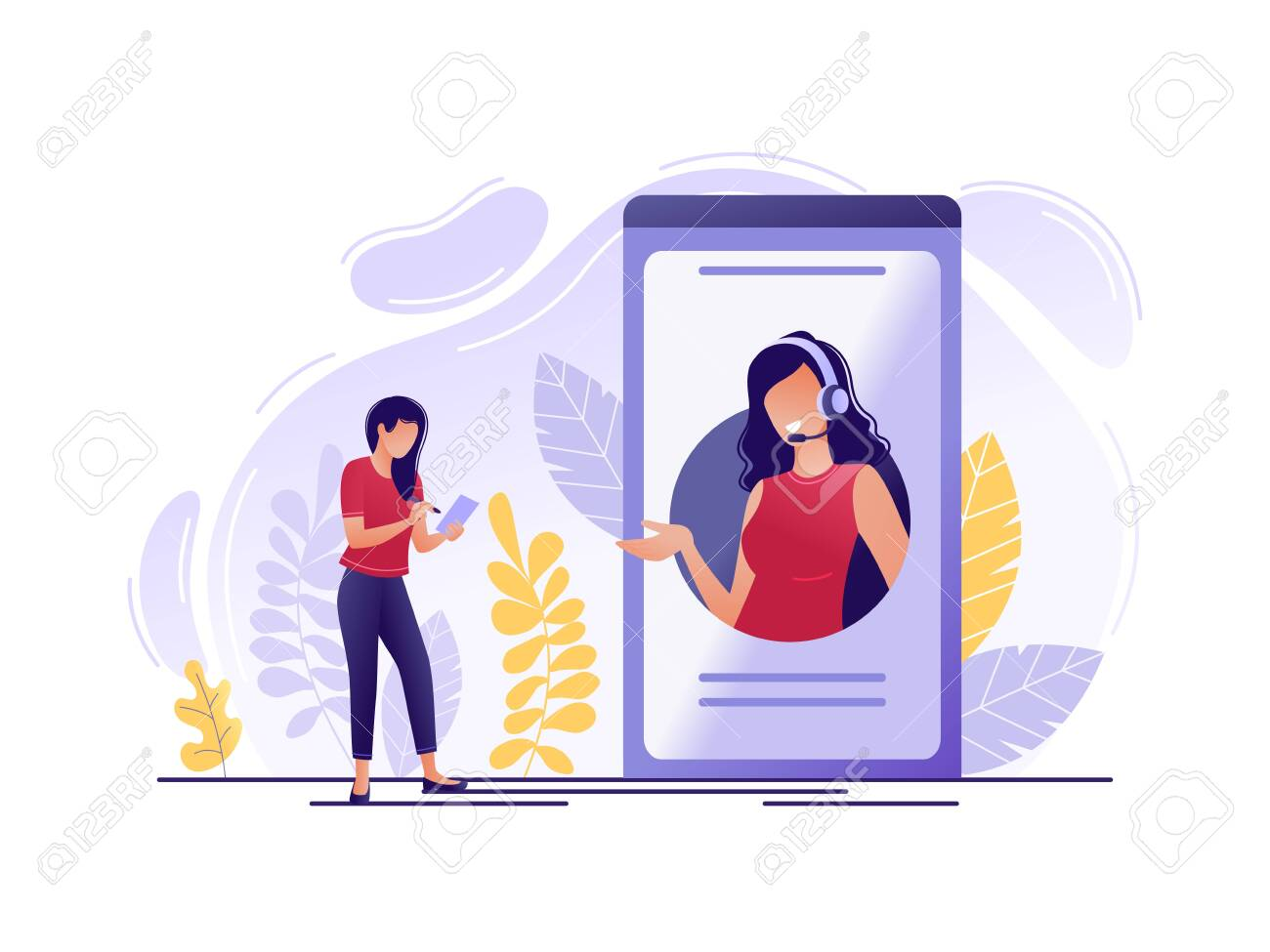 Online technical support. Woman near big phone with female hotline operator. Online assistant, virtual help service, 24-7, customer and operator. Flat concept vector illustration - 123180637