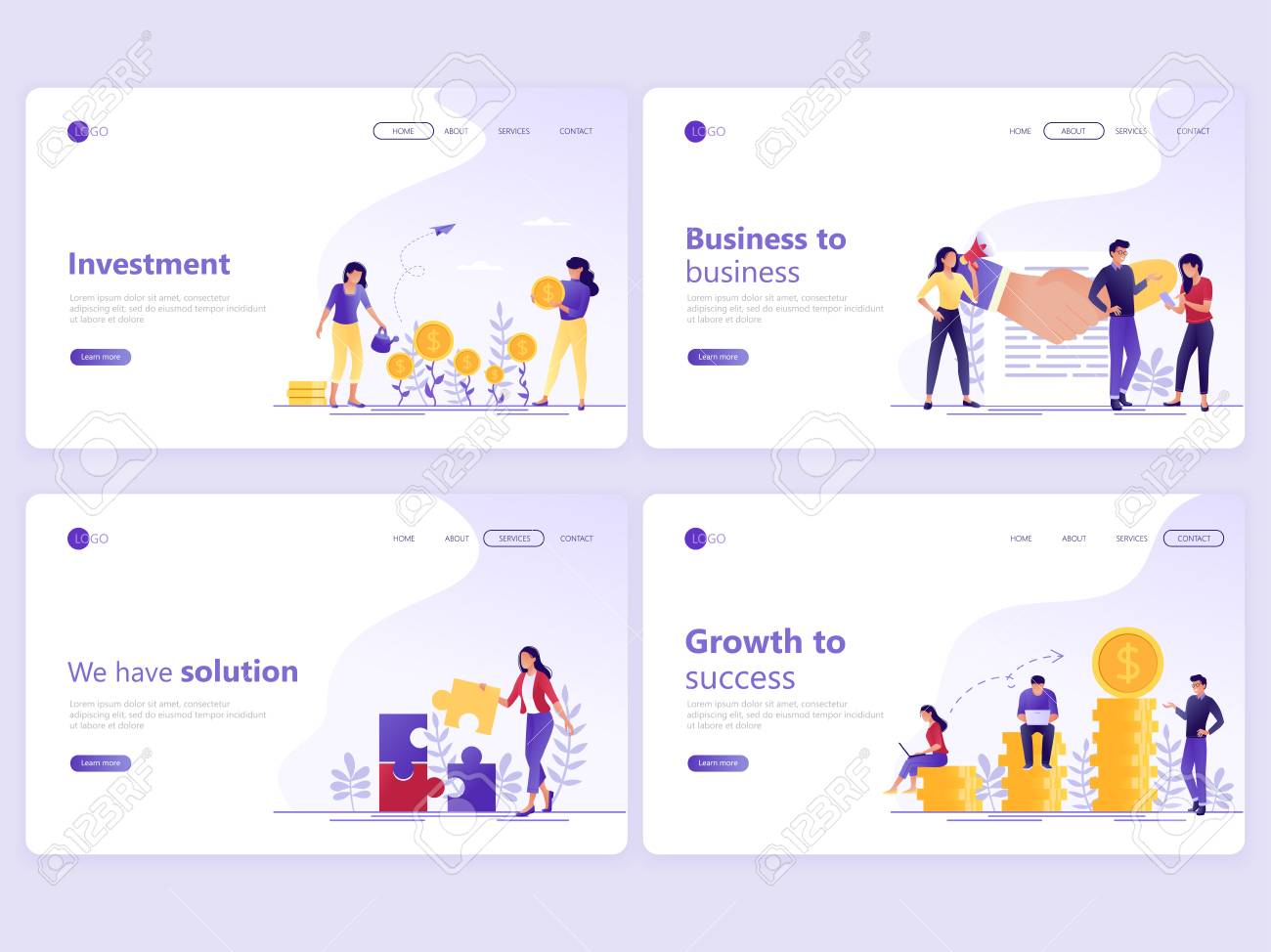 Set of Landing page templates. Business investment, partnership, financial consulting, growth to success. Flat vector illustration concepts for a web page or website. - 121001036