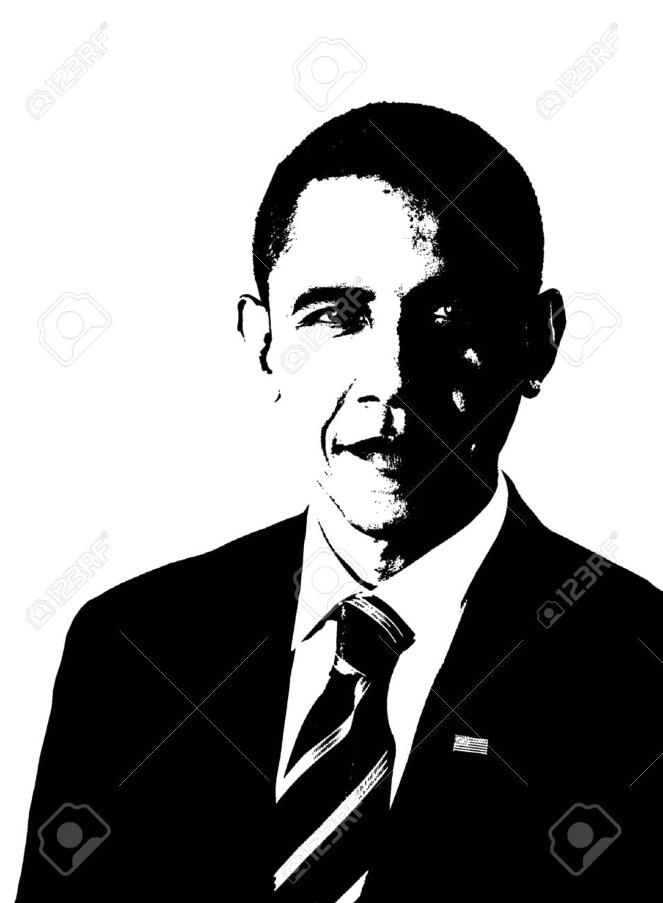 Editorial drawing of barack obama in black and white stock photo 101161965