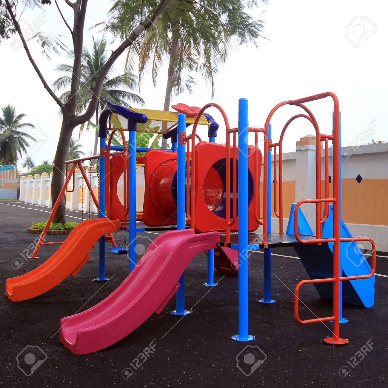 foto de archivo juegos para nios de colores en el parque