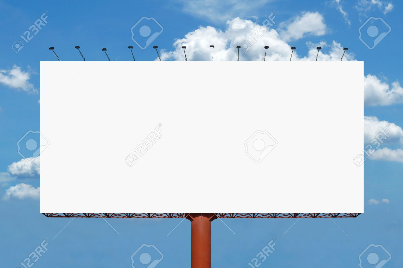 Blank Billboard For Advertisement With Beautiful Sky Background Stock Photo
