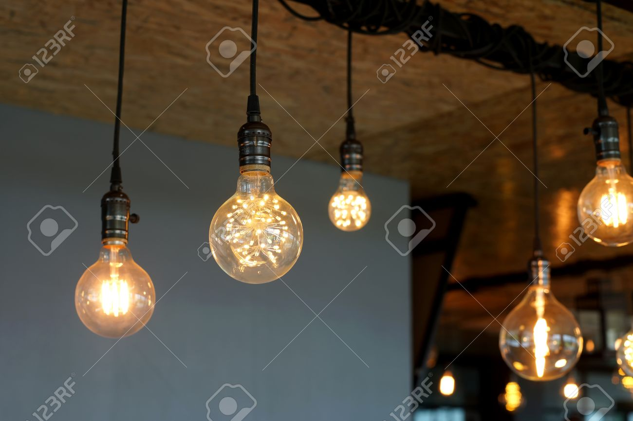 Decorative antique tungsten light bulbs hanging on ceiling stock decorative antique tungsten light bulbs hanging on ceiling stock photo 58138878 arubaitofo Gallery