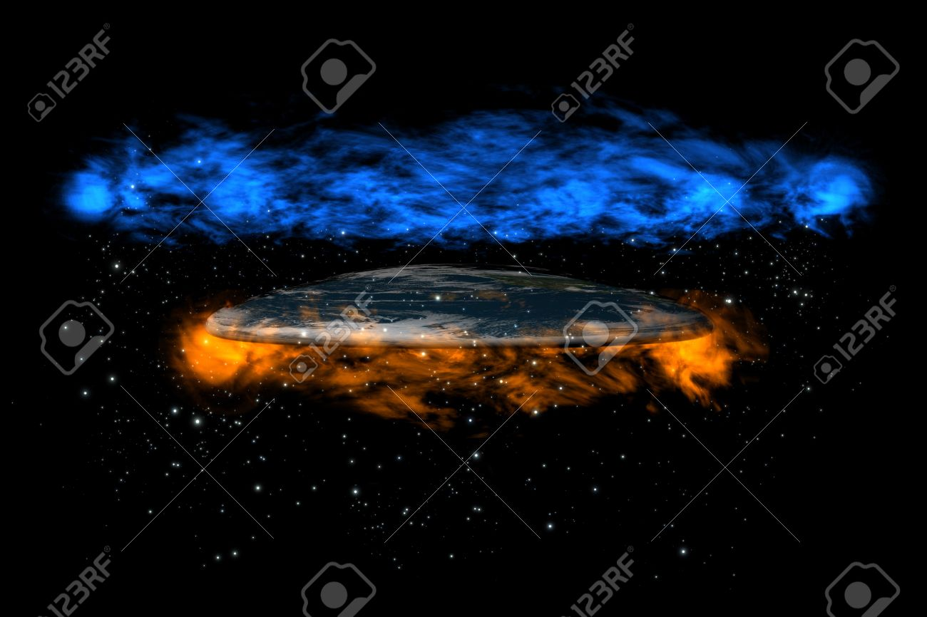 The old flat Earth inside stars between hell and heaven on the black background, side view Stock Photo - 8668006