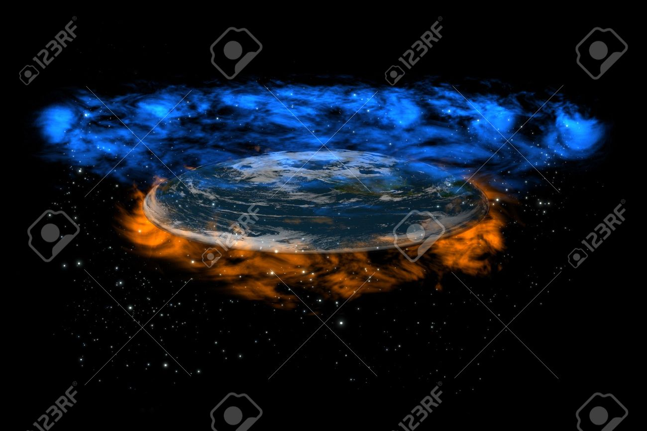 The old flat Earth inside stars between hell and heaven on the black background, perspective view Stock Photo - 8668010