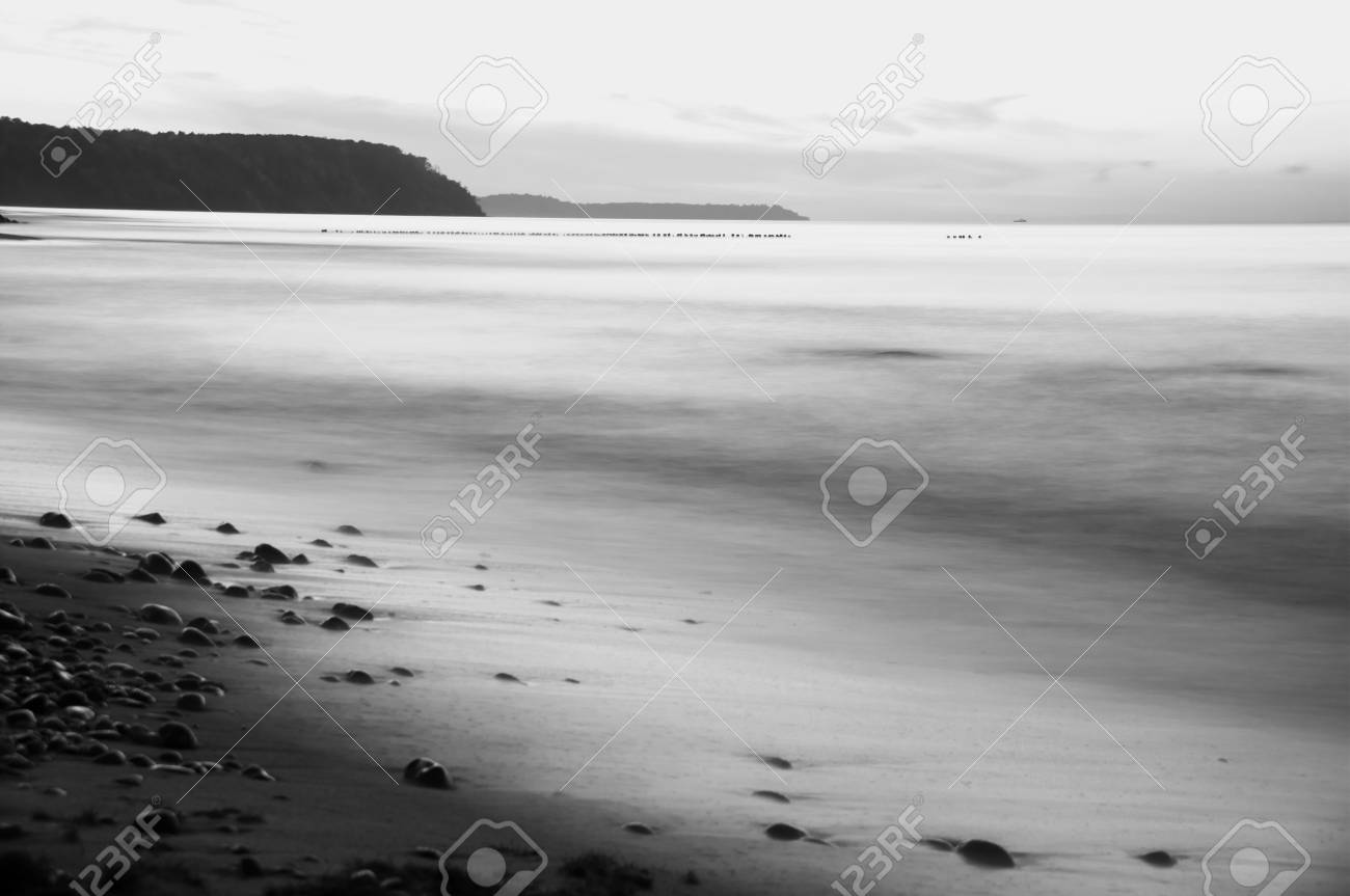 mist silence cloudscape sea beach with breakwater Stock Photo - 15830325