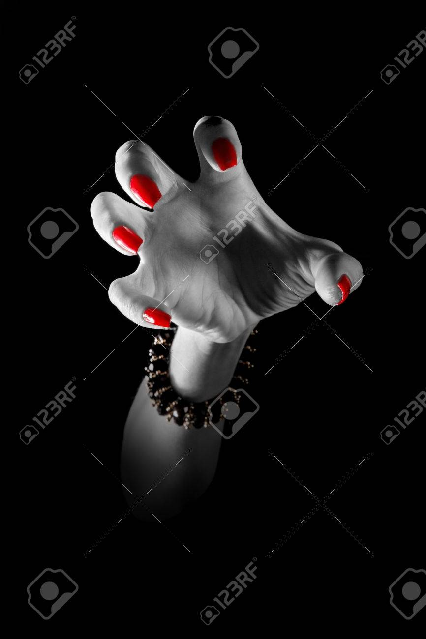 human female clawhand attack in the dark Stock Photo - 27500663