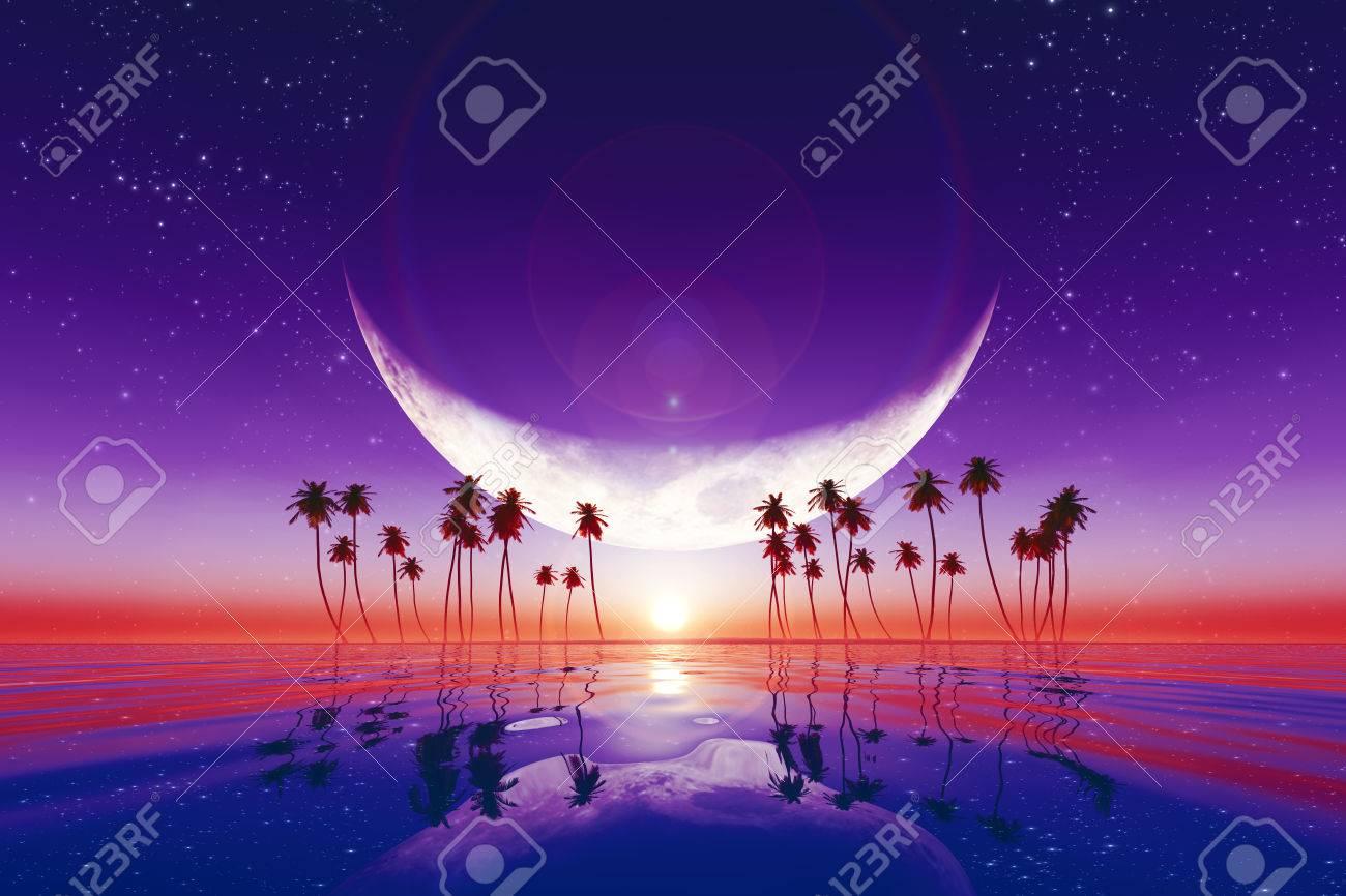 星と熱帯の海で紫の夕日に大きな...