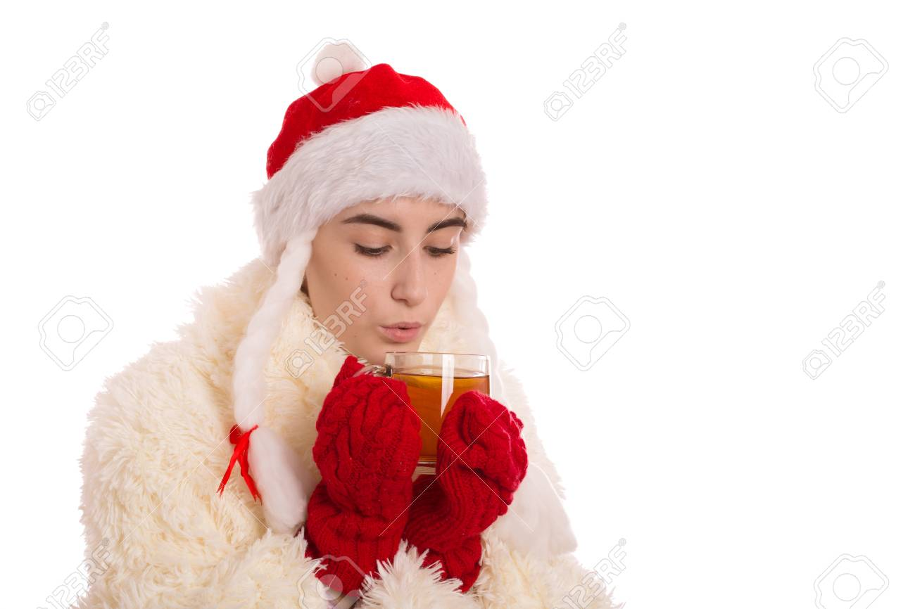 1487821af1fc Fun Miss Santa With Cup Of Tea Isolated On White Background Stock ...