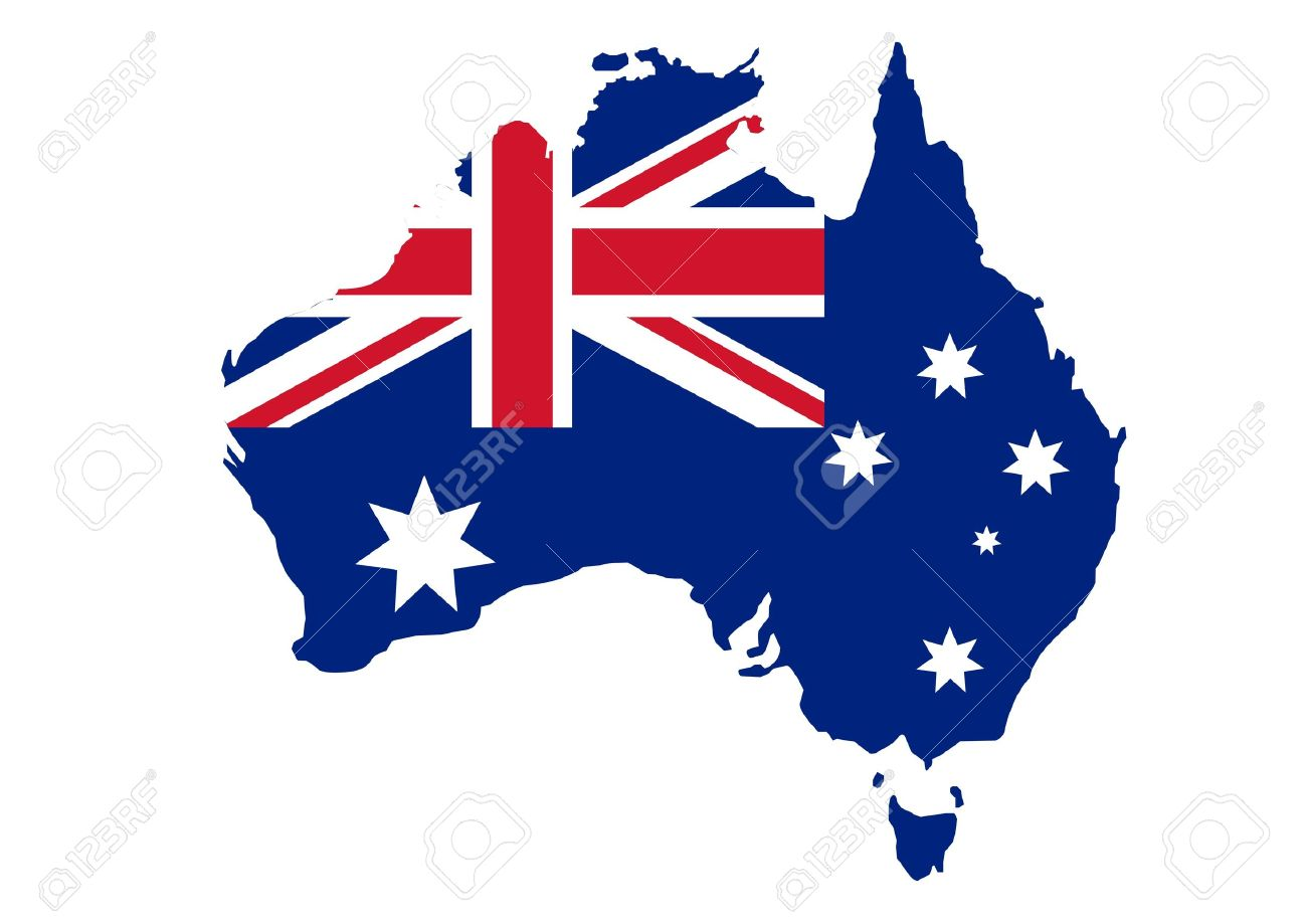 Map Of Australia In Australian Flag Colors Royalty Free Cliparts