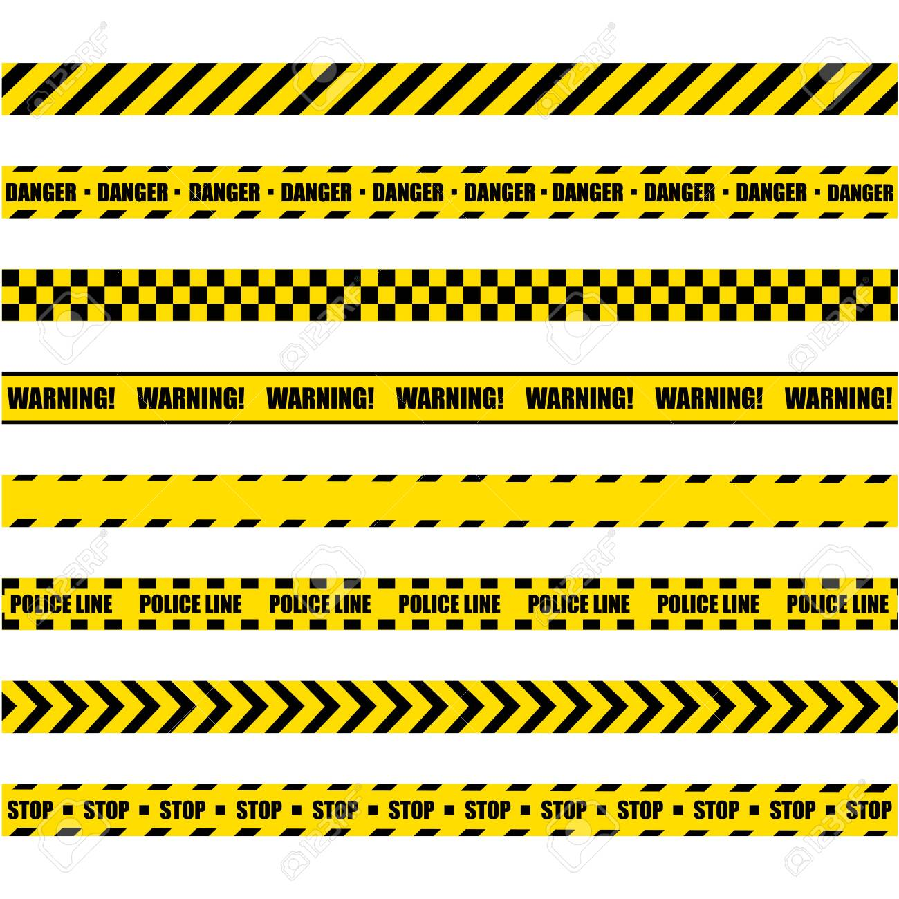 Police Warning Line. Yellow And Black Barricade Construction Tape On White Background. - 135790496