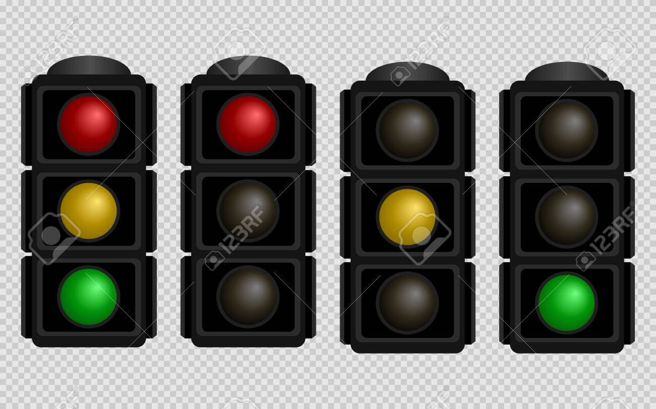 Traffic light. Set of traffic lights with red, yellow and green color on a transparent background. Isolated vector illustration. - 146332659