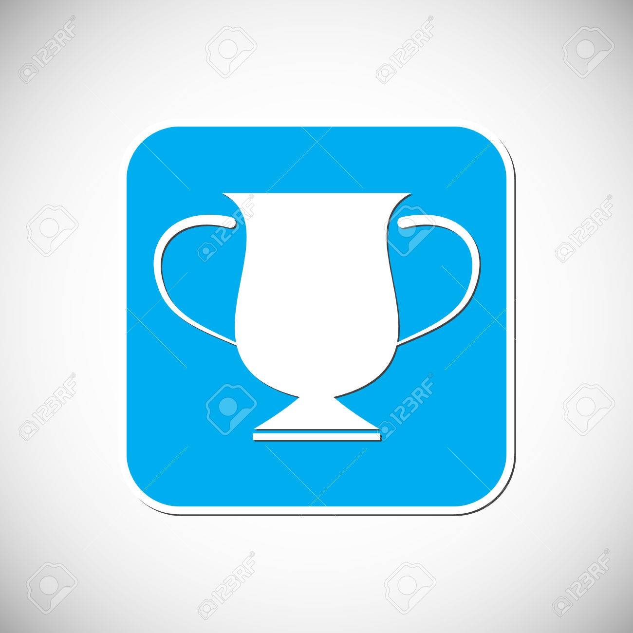 Trophy Icon Blue Square Frame Stock Vector