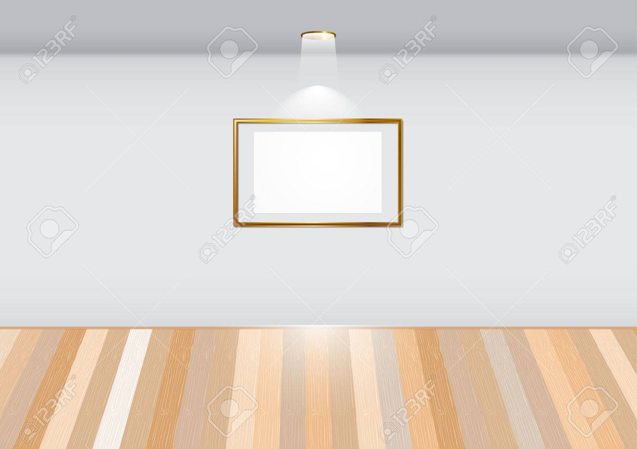 cf3a1d7b015 Empty room with blank frame on white wall in the gallery. Stock Vector -  31951242