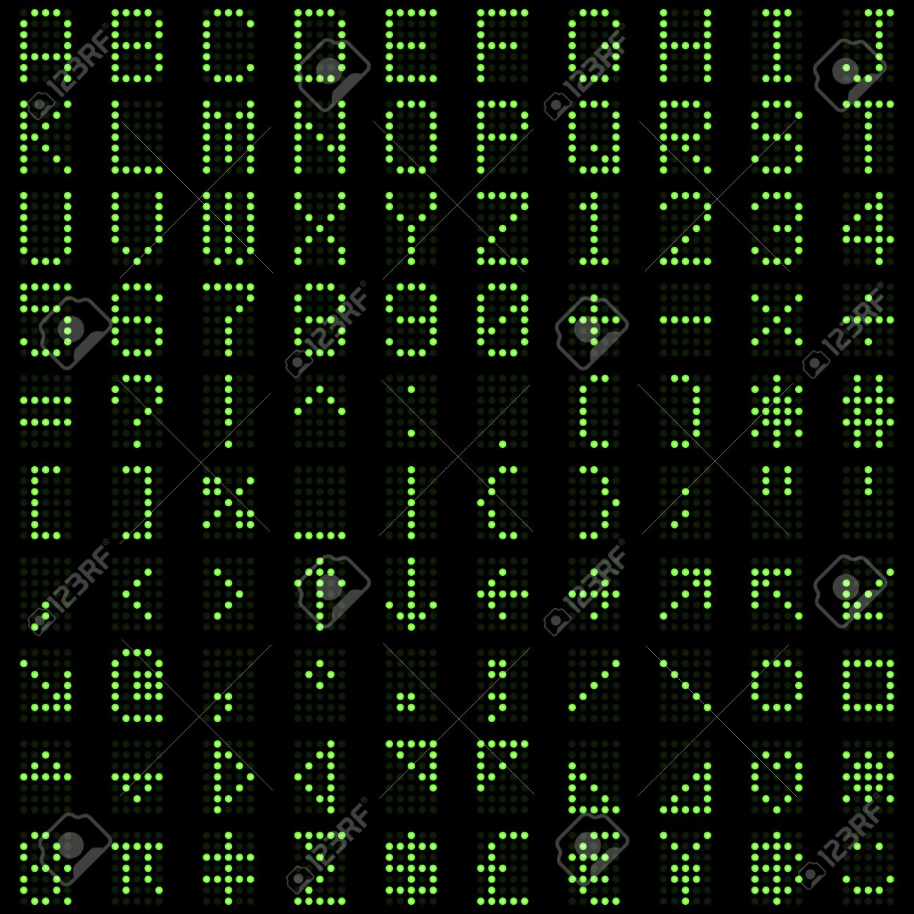 Green dot digital font alphabets, letters, numbers and symbols