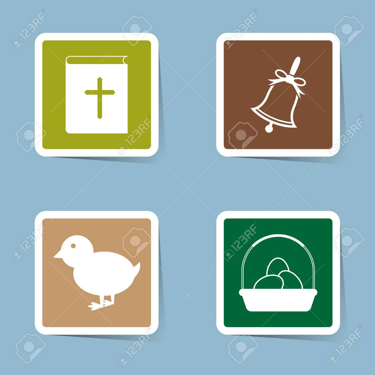 Pasqua Icona Impostare Illustrazione Vettoriale Libro Bibbia